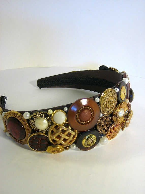 Headband - Brown and Gold Vintage Button Collage