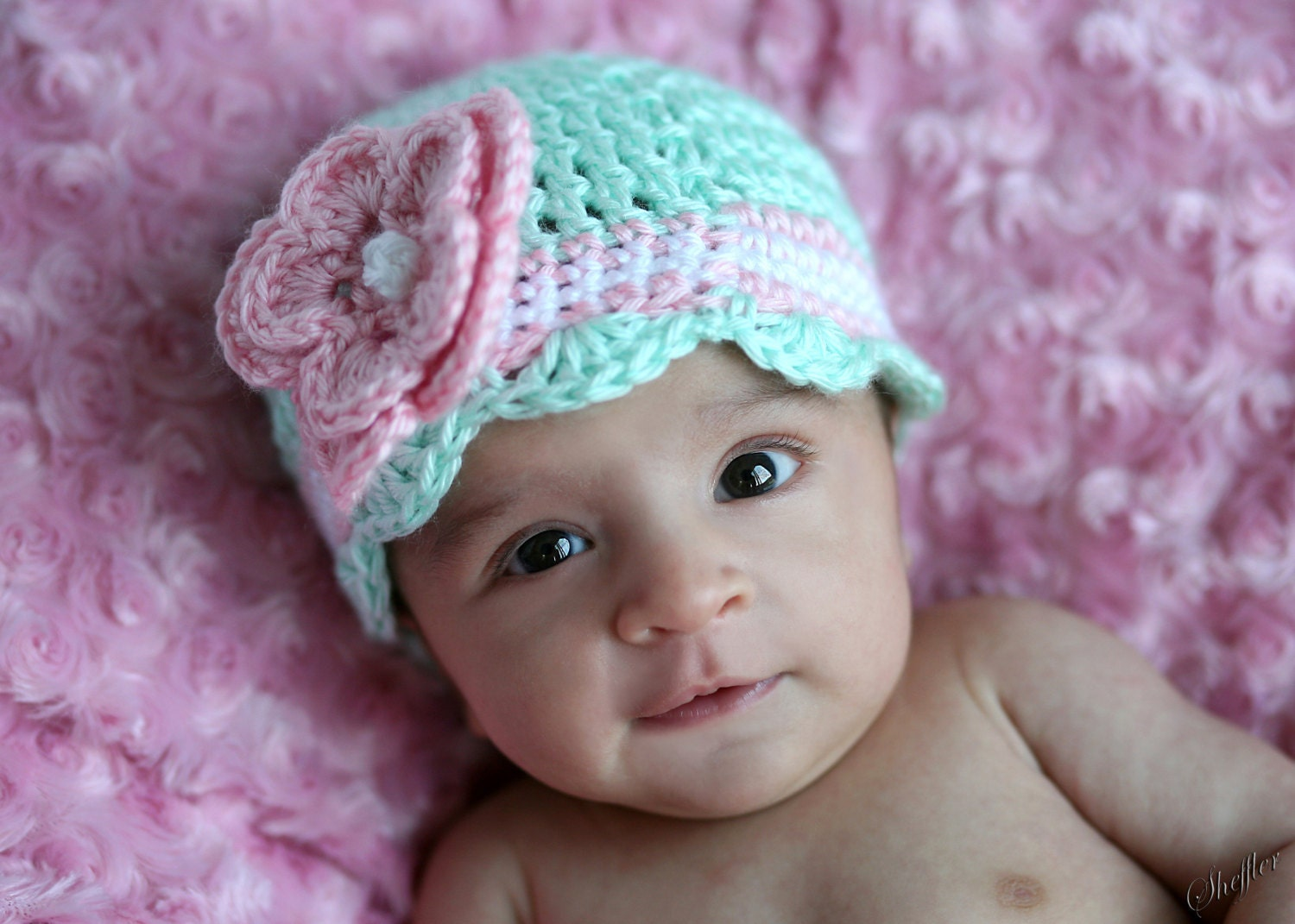 Crochet Newborn Hats : Crochet Baby Girl Hat Baby Girl Hat Newborn by crochethatsbyjoyce