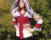 Elf hoodie, purple red and rainbow, upcycled sweaters, RESERVED FOR HANDMADEVALMATTESS