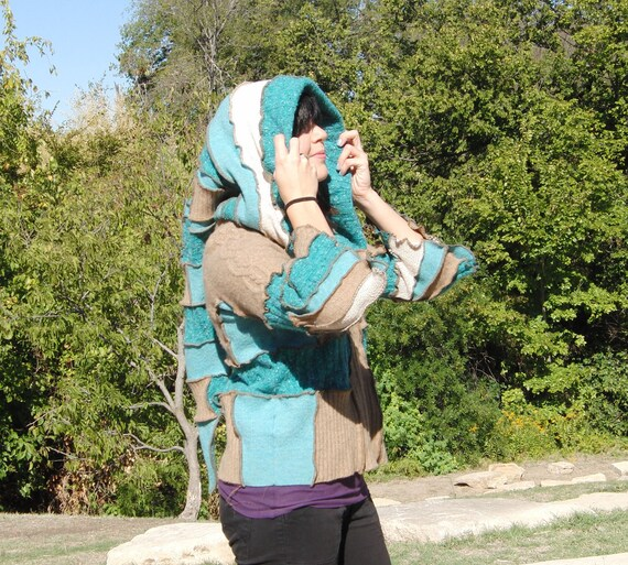 Elf hoodie, Upcycled sweater jacket, zip up zipper front, pale brown and turquoise
