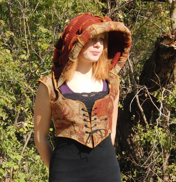 Elf Hoodie, Hooded bodice, Autumn fire, sweater and tapestry, corset laced, size medium RESERVED FOR ASHLEY