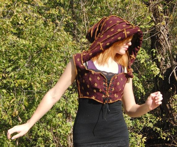 Hooded vest, bodice, modern Renaissance, purple and gold, corset lacing, size Medium