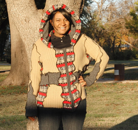 Upcycled sweater, zip up hoodie, size XL, red tan black and grey