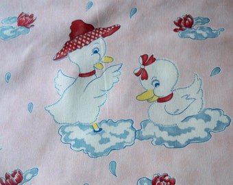 54 inch wide- Just Ducky Pink -Blue-Baby Great nursery print - fabric- Home decor -Sweet duckies