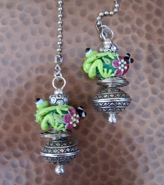 SALE - Beaded Fan Pulls - Set of 2 Artisan Lampwork Frog beaded fan pulls - Fancy and fun - Unique Gift