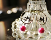 Dangling Silver Love Bird Earrings with Hot Pink Pearls