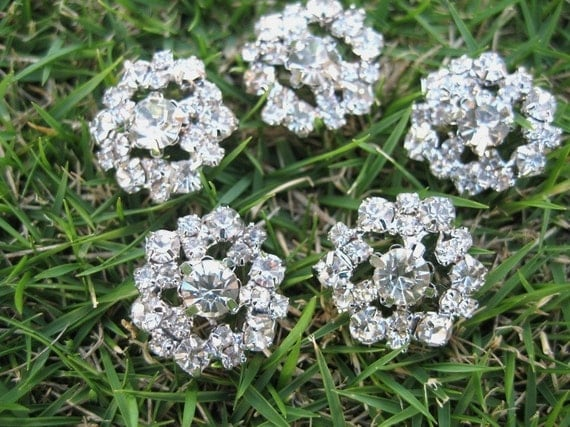5 pcs Sparkling Crystal Rhinestone Buttons RB023