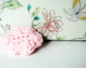 Pink Cloud Brooch, hand-crocheted, ready to ship