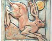 Leaping Hare Ceramic Tile - pale turquoise Art Tile