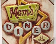 Retro Diner Sign Ceramic Art Tile
