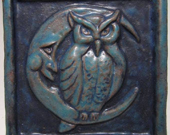 Ceramic Art Tile, Night Owl - Deep Turquoise , 4 x 4  Handmade Ceramic Tile