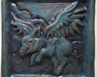 Ceramic Art Tile, When Pigs Fly - deep turquoise, 4 x 4 Handmade Tile