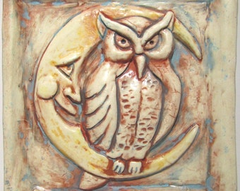 Night Owl Art Tile - Old Paint, 4 x 4 Handmade Ceramic Tile, Wall Art, Owl and Moon