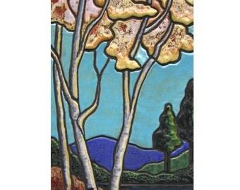"""Ceramic """"Autumn Birches""""  Custom Made Mosaic Art Tile,  Scene, Framed"""