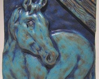 Horse in Stable Ceramic Art Tile deep turquoise