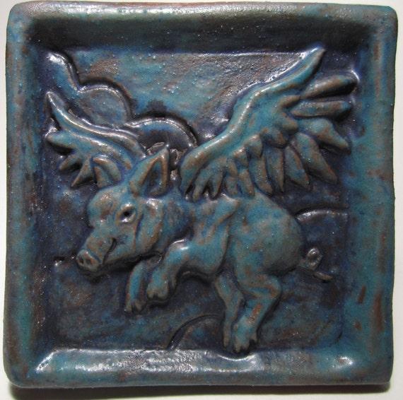 Ceramic Art Tile, When Pigs Fly - deep turquoise, 4 x 4 Handmade Tile
