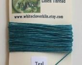5 Yards 4 Ply Teal Irish Waxed Linen Thread