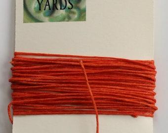 5 Yards Orange 4 ply Irish Waxed Linen Thread