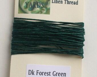 5 yrds Dark Forest Green 4 ply Irish Waxed Linen Thread