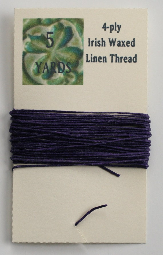 5 Yards Plum 4 ply Irish Waxed Linen Thread
