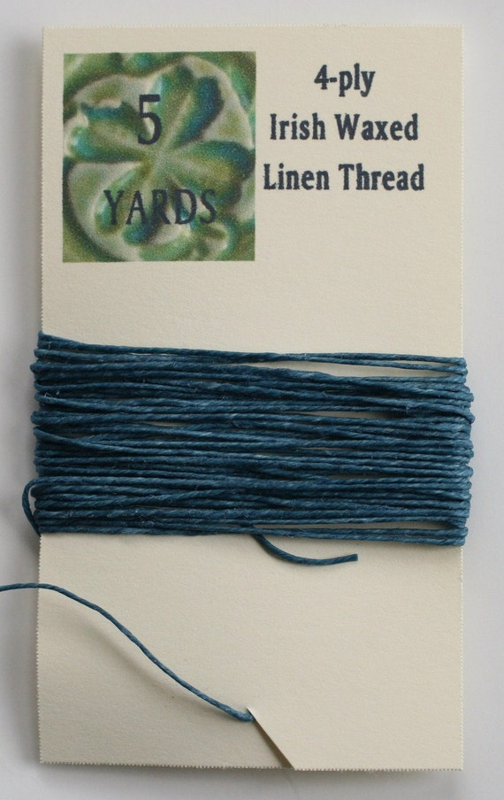 5 Yards Williamsburg Blue 4 ply Irish Waxed Linen Thread