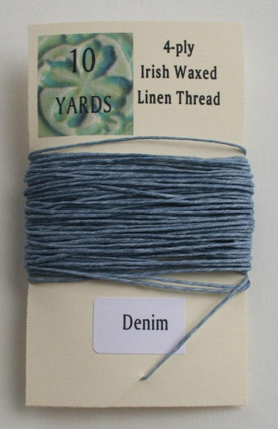 10 yrds Denim 4 ply Irish Waxed Linen Thread