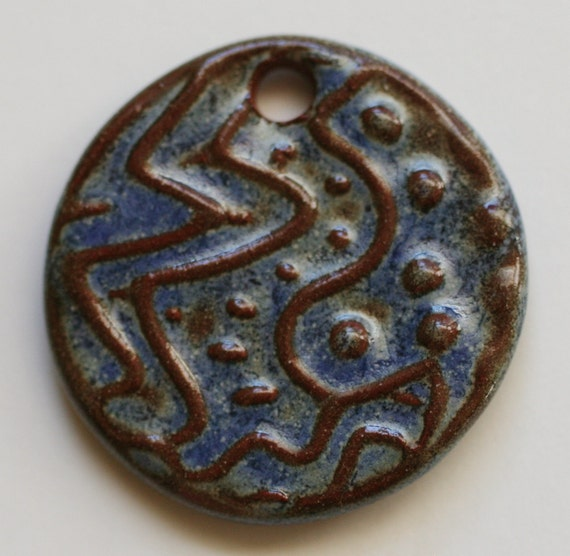 Handmade Original Design Artisan Ceramic Pendant in Blue Stone on Russet 2119