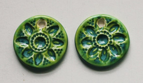 2 Handmade Artisan Ceramic Floral Earrings Pendants in Spring Green 4112