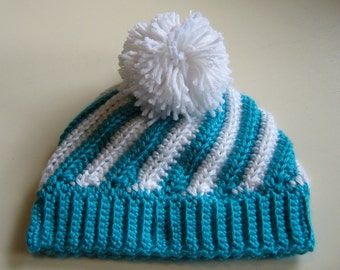 Striped Turquoise & White Pompom Beanie - Size 12 to 24 Months, Ready To Ship
