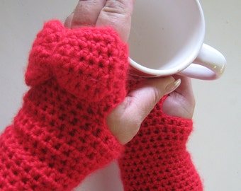 Red Fingerless Gloves With Bow