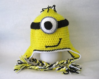 Despicable Me Minion Inspired Hat With Ear Flaps-MADE TO ORDER