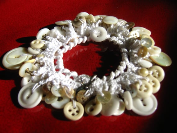 Crochet Bracelet of Vintage Mother of Pearl and Glass Buttons-READY TO SHIP