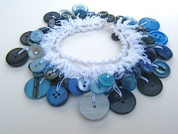 Crochet Bracelet of Dangling Vintage and Glass Buttons in Blue Passion-READY TO SHIP