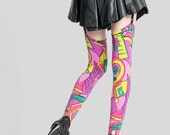 1980s POW POW  Neon Reworked Thigh high Stirrups