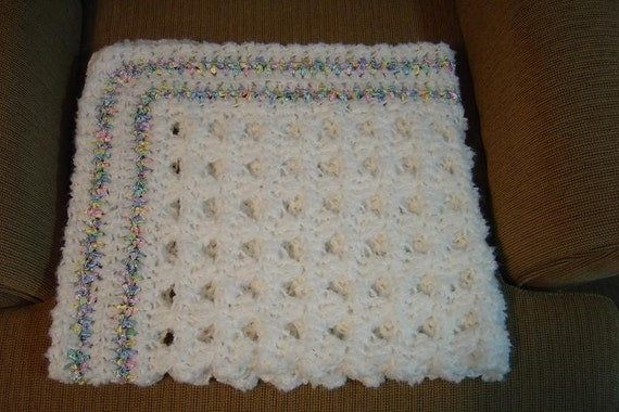 Lacy Hand Crocheted Baby Blanket w/ Pastel Ribbon 30x34 Ship