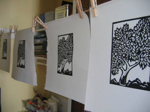 Plum Tree Limited Edition Linocut -- MATTED and Ready to Frame
