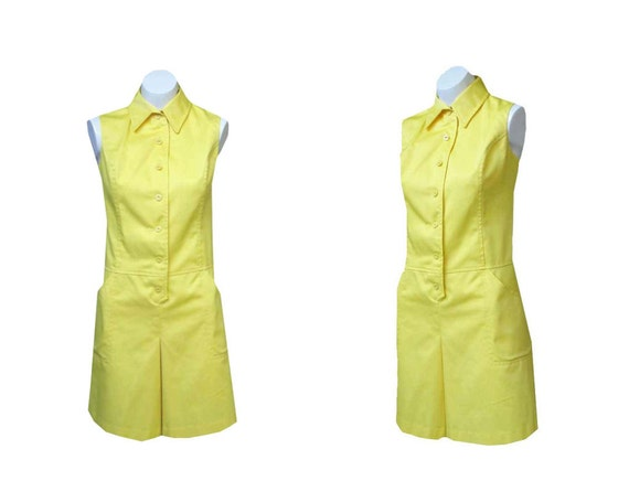 Vintage 60s Playsuit / 1960s Romper  / Dress /  Yellow / One piece
