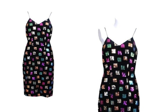 1980s Party Dress / 80s Cocktail Dress / Sequined