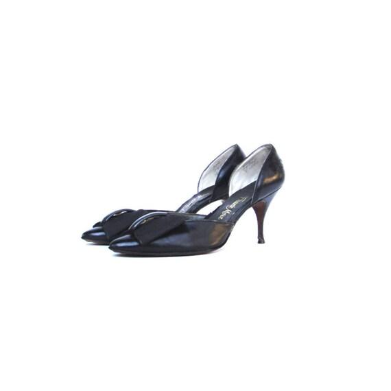 Vintage 1950s Pumps / 50s Stilletos Heels  / Black / Rare Size 9