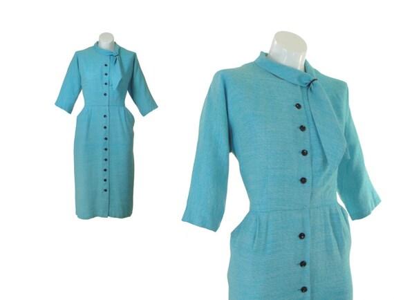 1950s Dress / 50s Dress / Blue / Sheath Dress