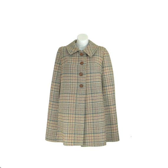 Vintage 1960s Cape / Plaid 60s Jacket / Sherlock Holmes / Wool Tweed