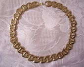 Oval Necklace Gold Tone Bar Link Choker Smooth Vintage Chain