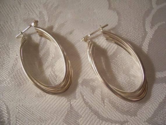 Triple Twist Ribs Pierced Hoop Earrings Sterling Silver Marked 925 Vintage Oval Dangles