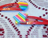 Rainbow Heart and Star Snap Hair Clips