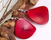 Eco Friendly Valentine's Gift Neon Red Handmade Tagua Earrings