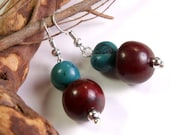 Round Brown and Blue Handmade Tagua Earrings