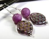 Reptilian Purple Eggs Luxury Handmade Small Earrings