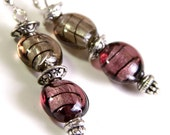 Purple and Smokey Black Foil Beaded Handcrafted Earrings
