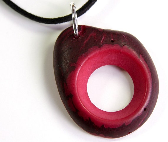 OOAK  Ruby Red Tagua Pendant Necklace Eco Friendly