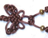 Charm, Mystic Knot Butterfly, Brown Swallowtail, in Satin Cord